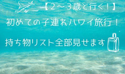 【2~3歳】初めての子連れハワイ旅行!持ち物リスト全部見せます【5泊7日】